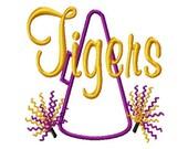 Megaphone-Pompoms - TIGERS - Applique - Machine Embroidery Design - 8 Sizes