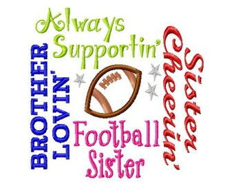 Football Sister - Subway Art - Football Applique - Machine Embroidery Design -  7 sizes