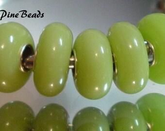 Murano Glass Bead  Chartruese Green European Style Charm Bracelets by WhitePineBeads