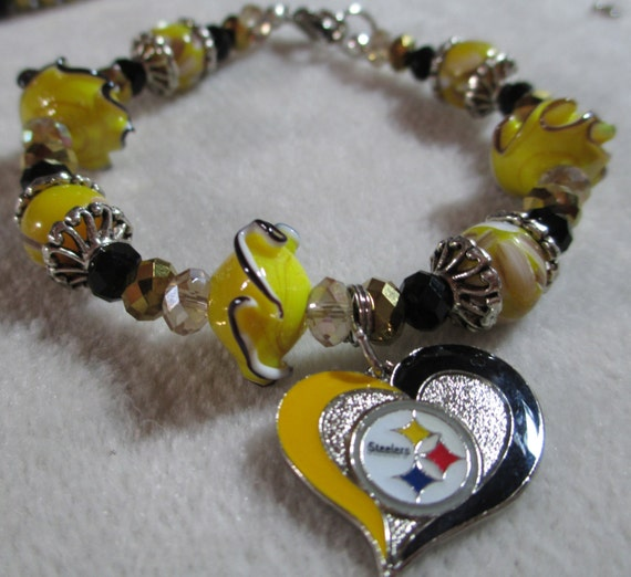 pittsburgh steelers heart charm bracelet black yellow gold