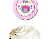 """Bounce House Girl Party - Personalized Cupcake Toppers, 2"""" Party Circles - DIY Party Printables - Digital Download and Print"""