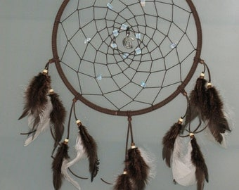 """9"""" Brown  dream catcher with Moonstone crystals"""