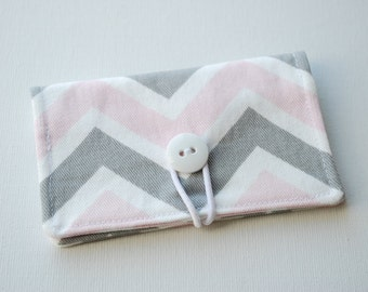 READY to SHIP - Pink and Gray Chevron Fabric Mini Wallet - with Button and Closure. Business Card Holder, Credit Card Wallet, Small Wallet.