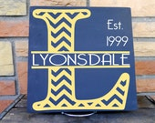 11x11 Wooden Handpainted Sign With Chevron Monogram, Includes Family Name And Established Date