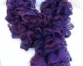 Ruffle lace soft scarf hand knit  purple multicolored with silver shiny