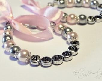 Flower Girl Bracelet, Child Name Bracelet, Personalized Jewelry, Flower Girl Gift, Girls Pink Bracelet, Little Girl Jewelry, Girl Jewelry