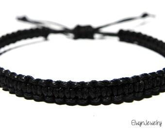 Men's Black Bracelet, Black Cord Bracelet, Rope Bracelet, Macrame Bracelet, Men's Jewelry, Gift For Man, Black Bracelet, Knot Bracelet