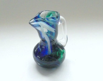 Mini Pitcher - Blue & Green Swirl  :DISASTER RELIEF