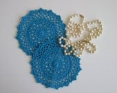 "Pair of Crochet Doilies - Turquoise Aquamarine - Lacy Small 6"" - Set of 2"