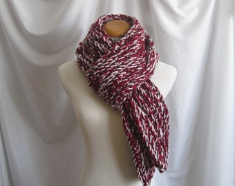 Scarf Bulky Chunky Crochet Scarf - Extra Long in Red, Burgundy and White