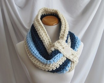 Cowl Chunky Bulky Button Crochet Cowl:  Fisherman Off White, Baby Blue and Windsor Blue with Button Accent