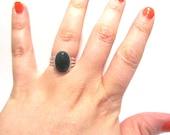 SALE Dark Green Jade Stone Small Oval Silver Statement Ring Adjustable