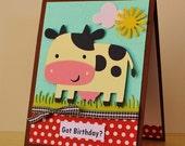 Cow Birthday Card, Farm Birthday Card, Kids Birthday Card, Children Birthday, Country Birthday,Daughter Birthday, Humor Birthday, Cute Card