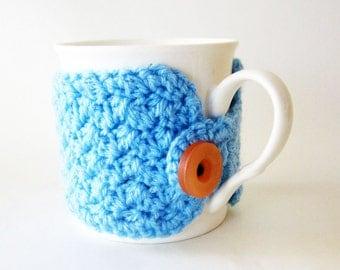 Blue coffee cup cozy/light blue cup cozy/Crochet blue mug cozy/Crochet cup warmer/Tea cup cozy/Cute coffee lover gift/Cute blue mug sleeve