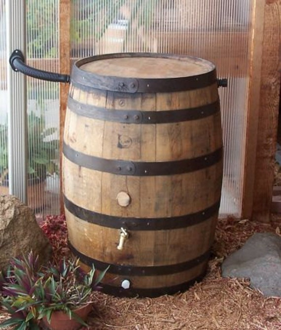 White Whiskey Barrel ~ White oak whiskey barrel rain with flex fit water