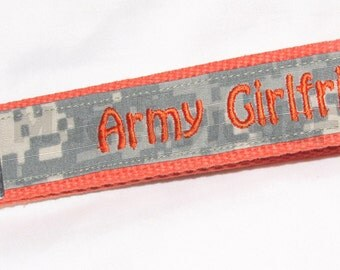Army Girlfriend NAME TAPE Key Fob _  keychain In Orange and ACU