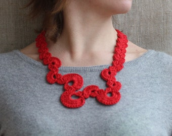 Red necklace Fiber jewelry Geometric crochet necklace Summer fashion