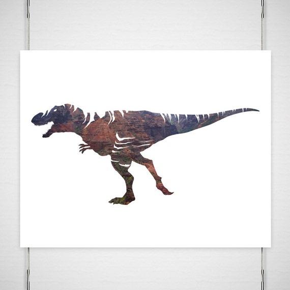 "Dinosaur T-Rex Photography / digital silhouette print / waimea canyon modern minimal brown rust  / 11x14 photograph print / ""Must go faster"""