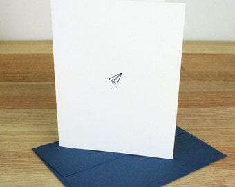 Paper Plane Letterpress Card - Blue