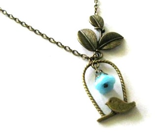 Bird and leaf necklace blue flower jewelry vintage style antique brass bronze bird on branch necklace