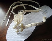 Ivory ballerina Bridal Flip Flops. Ivory Peacock Feathers W SWAROVSKI Crystals N Star Fish Button -Ivory -Must Have Ballerina Collection-