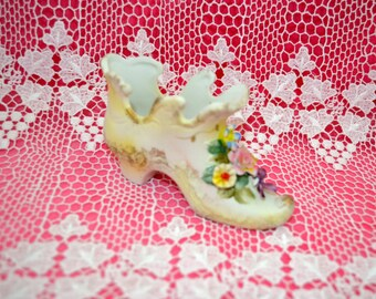 Vintage Victorian Styled Porcelain Shoe with Flowers