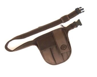 Brown basic belt bag - Festival pocket belt - Bicycle belt bag - Designer waist bag - Simple utility belt