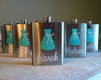 5 Personalized Bride and Bridesmaid Dress Stainless Steel 8 oz. Flasks