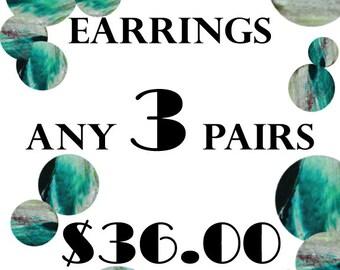 Pick any THREE pairs of earrings, leather earrings, stud earrings