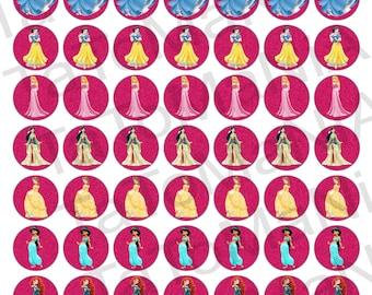 Princess 1 Inch Circles Digital Collage Sheet