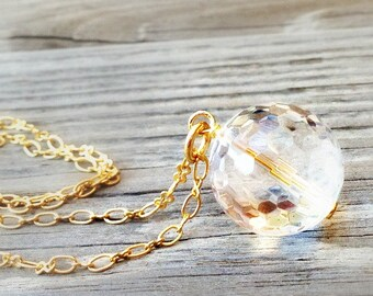 Crystal Necklace - Crystal Quartz Necklace - Gold Chain Jewellery - Clear Jewelry - Pendant - Bridesmaid - Bride - Wedding - Crystal Ball