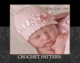 Crochet Hat Patterns Baby Girl : Crochet PATTERN Baby Hat, Newborn Hat, Baby Girl, Easy ...