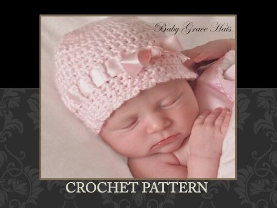 Crochet PATTERN Baby Hat Newborn Baby Girl Hat by ...
