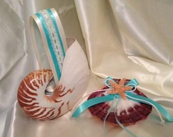 Destination Beach Wedding Set w/ Nautilus Flower Girl Basket & Shell Ring Bearer Pillow w/ Customizable Colors