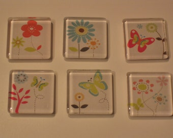Butterflies and Flowers Glass Refrigerator Locker Message Board Magnets or Push Pins