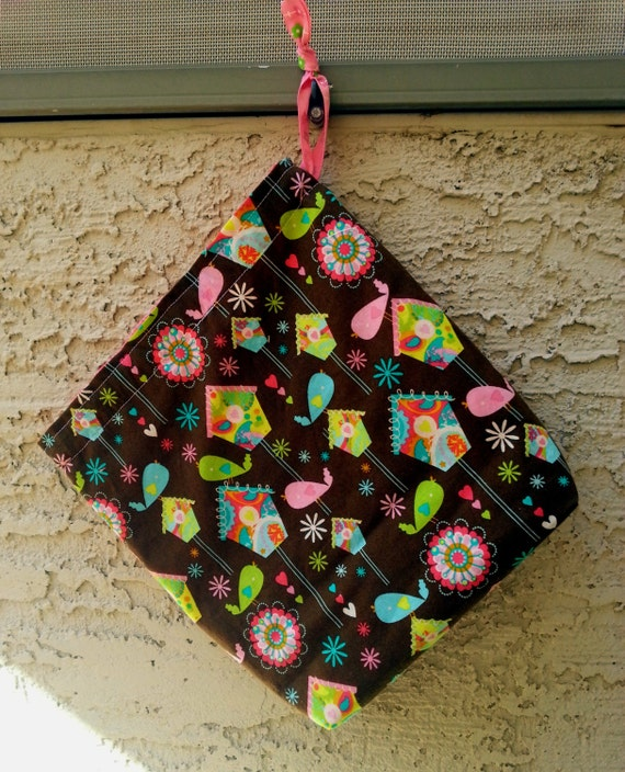 Knitting Sock Project Bag, Small Drawstring Bag-Birdy Choco