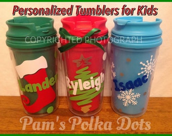 Personalized CHRISTMAS TUMBLER for KIDS with Name Tree Stocking Snowflakes Polka Dots Great Stocking Stuffer Red Green Blue