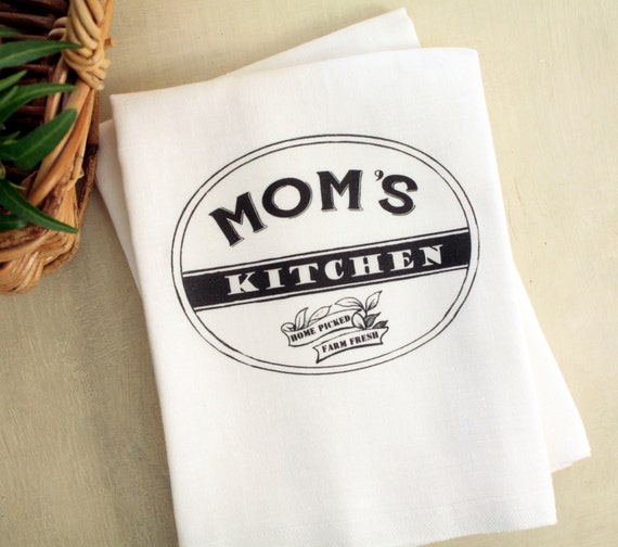 Mommas Kitchen: Persoanlized Mom's Kitchen Tea Towel Text Kitchen Flour