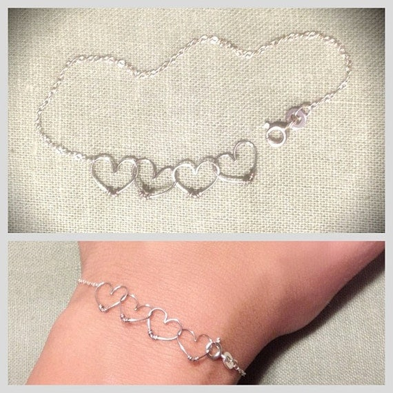 Dainty 14k Rose-Gold, Sterling Silver, or Yellow Gold Sweetheart Bracelet