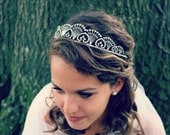 Vintage Rhinestone Tiara - Flexible Headband in Silver - Bridal Headpiece - Prong Set - Bride