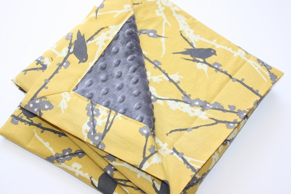FREE SHIPPING Minky Baby Blanket - Sparrows in Vintage Yellow and Grey with Charcoal Dot Minky (30 X 32)