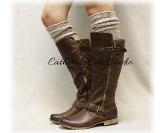 ALPINE ADORE Oatmeal Boot socks tall boot socks knit boot socks womens socks tweed socks leg warmers tall socks Catherine Cole Studio BKS0