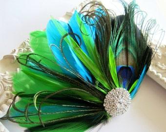 Bride Bridesmaid Feather Hair Accessory, Feather Fascinator,Peacock, Hair PIece,Aqua Blue, Black, Lime Green, Feather, Hair Clip