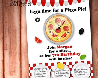 PIZZA Party or CHEF Party INVITATION - Printable Birthday Party Invite - Personalized for Boys or Girls
