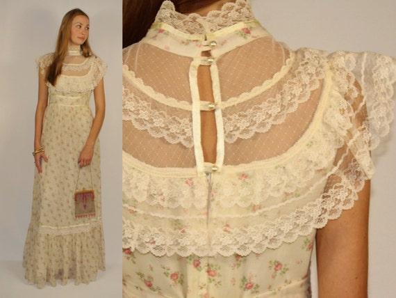 Gunne Sax Jessica Gunnie Scoop Neck Maxi Dress Ivory Cream Off