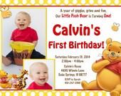Winnie the Pooh Birthday Invitation Yellow Polka Dots Photo Options Customizable Printable