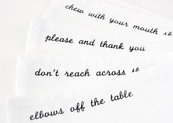 Cloth Napkins Manners set of 4 black screen printed dinner napkins
