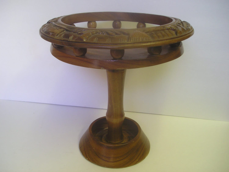 Teak wood tiki pedestal compote centerpiece by