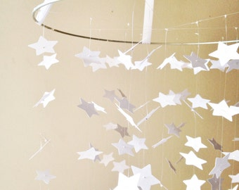 White Star Mobile / / /  Nursery Decor, Photo Prop, Baby Shower Gift, Crib Mobile.