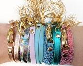 Hologram, Metallic, Snake, Pastel Triple Wrap Tassel Bracelets- Jewelry